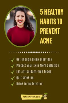Our daily habits affect our skin more than we know. So have a look at our pick of 5 Healthy Habits to Prevent Acne! Healthy Foods To Make, Healthy Habits, Skin Care Regimen, Skin Care Tips, Different Types Of Acne, Home Remedies For Acne, Oxidative Stress, Sleep Deprivation