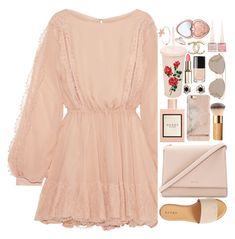 """""""❤"""" by polinachaban ❤ liked on Polyvore featuring LoveShackFancy, Gucci, Arik Kastan, ban.do, Hinge, Kate Spade, Christian Dior, Christian Louboutin, Too Faced Cosmetics and 60secondstyle"""