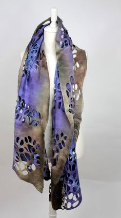 Felted scarf lacey loads of holes decorative blue grey and mustard muted colours. €79.00, via Etsy.