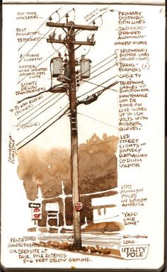 """Commonly called """"telephone poles,"""" utility poles carry a lot more than just phone service. They also conduct electrical power, street . Utility Services, What Is An Artist, Pole Art, Live Wire, Film Inspiration, Phone Service, Lineman, Old Master, Photo Reference"""