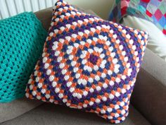 Crochet Granny Square Cushion Cover