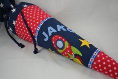 """Schultüten - Schultüte """"Weltraum"""", mit Stoffbuchstaben - ein Designerstück von Farbe_bekennen bei DaWanda"""