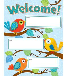 Create a welcoming, cheerful atmosphere for your classroom with this contemporary, eye-catching Boho Birds Welcome chart.