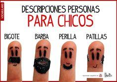 Describir personas en español, tipos de pelo. Descripción chicos, vocabulario español intermedio