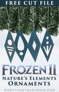 Frozen 2 Ornament: Nature's Elements Cut File - More Than Thursdays Frozen Christmas Tree, Disney Christmas, Christmas Tree Ornaments, Christmas Crafts, Frozen Ornaments, Christmas Games, Frozen 2, Frozen Theme, Disney Frozen