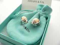 Tiffany & Co Silver 18K Gold Scarab Bug Beetle Earrings Rare Vintage