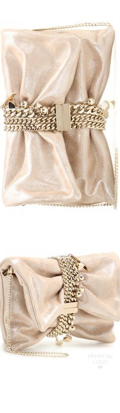 Jimmy Choo Chandra Metallic Suede Clutch Bag, Sand | LOLO❤