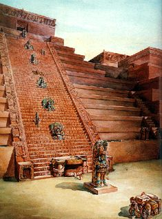 Artist's concept of the Petroglyph Staircase at Copán, as it could have looked like between 400 and 850AD, by T. Proskouriakoff.  Honduras