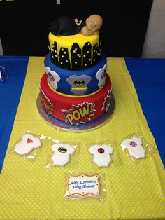 Cake at a Superhero Baby Shower #superhero #babyshowercake