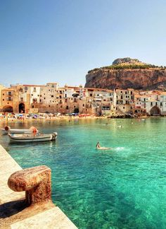 Cefalu, Sicily, Italy // europe // dock // harbor // fishing village // old country // mountain // paradise // exotic travel destinations // dream vacations // places to go Places To Travel, Places To See, Travel Destinations, Places Around The World, Travel Around The World, Dream Vacations, Vacation Spots, Italy Vacation, Vacation Deals