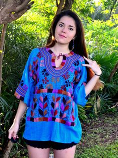 Beautiful Turquoise Mexican Blouse / Traditional by FlorDeKahlo