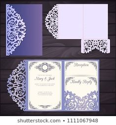 Wedding invitation or greeting card with abstract ornament. Suitable for greeting cards, invitations, menus. - Buy this stock vector and explore similar vectors at Adobe Stock Cricut Wedding Invitations, Laser Cut Invitation, Wedding Invitation Card Template, Wedding Envelopes, Wedding Cards, Pocket Envelopes, Paper Envelopes, Greeting Cards, Wedding Decorations