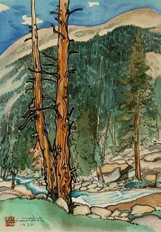 Upper Lyell Fork, near Lyell Glacier (Yosemite -1930) Color woodcut print by Chiura Obata - Smithsonian collection.