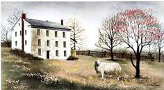 New Country Primitive Billy Jacobs White House Farms Sheep Canvas Wall Picture  #Country