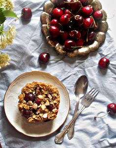 Oatgasm: Red Cherry Almond Baked Oatmeal