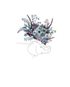 Blue Elephant flowers. 8x10 print by ChipmunkCheeks on Etsy