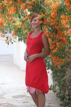 Red Cotton Minimalist Summer Dress by LoudandProudLondon on Etsy, $49.95