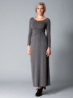 Urban-Bohema dress for large busted women in grey melange starts to fall at the empire line with a unique twisted belt. It will draw all attention away from the bust and towards a defined waist! http://dd-atelier.com/Urban-Bohema-dress-for-large-busted-women.html
