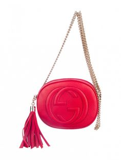 711504a40d Gucci Soho Crossbody Bag with gold-tone hardware and tassel adornment at  side with logo