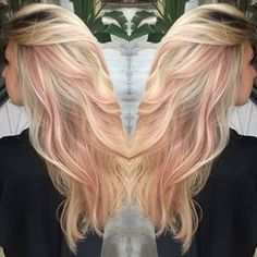 pastel pink highlights in blonde hair - Google Search