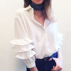 stylist @sophiabasse in a favourite: the Warwick Ruffle Blouse from #TallulahsFortune