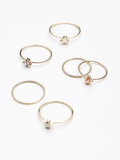 Teeny Tiny Iridescent Ring Set at Free People Clothing Boutique