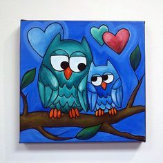 Cute owl canvas paint idea for wall decor. Love birds with hearts on a branch. Cute birds. Valentine's Day. Canvas painting. Wall art.