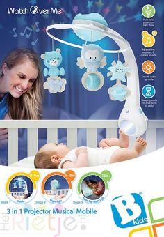 De B-Kids 3 in 1 muziekmobiel & projector is een multifunctionele muziek mobiel, box nachtlampje & sterrenhemel, en een nachtkastje lamp. Daarom is deze multifunctionele mobiel geschikt vanaf 0 maanden tot 18 maanden+. De slaapstand laat je baby zachtjes in slaap vallen, de mobiel heeft verder 10 verschillende rustgevende melodieën en natuurgeluiden, een volume regelaar, een meerkleurige projector. De wekstand stimuleert daglicht. Tevens een 20 minuten auto timer.