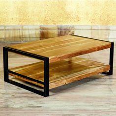 Details: Material: Reclaimed Massivholz Mango, gebürstet & lackiert Metall, pulverbeschichtet  Farbe: Natural & Matte Schwarz  Abmessungen: Breite: 110 cm  Höhe: 40 cm  Tiefe: 70 cm...