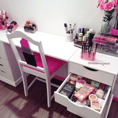 """Spending ALL evening working on my vanity in my NEW makeup room! Wanted to share a little about this vanity. I really wanted the IKEA vanity but I don't…"""
