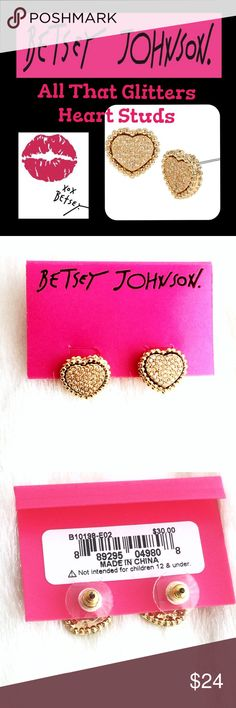 """🎀Betsey Johnson Heart Studs🎀 Gold and crystal heart studs from the """"All That Glitters"""" collection.  These are genuine and from a retired collection.  Absolutely gorgeous, simple, sparkly and still not without the Betsey whimsy.  Brand new on the card, never worn.  Smoke free home.  🌷Bundle me!🌷  🚫Lowball offers.  Price is firm.  I try to price things as low as possible, as is.  🚫 Trades and 🚫🅿️🅿️.  Congrats if you found it cheaper elsewhere but please do not comment here about it…"""