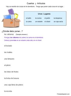 Cuartos y Artículos household vocabulary worksheet: FREEBIE from PrintableSpanish.com!