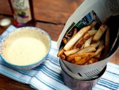 the best fries you'll ever have (belgian-style).a bit tongue in cheek - basically, get Trader Joe's fries and spice 'em up with a twist. Yummy Treats, Yummy Food, Food Gallery, Belgian Style, Appetizer Recipes, Appetizers, Yummy Drinks, I Love Food, Cooking Time