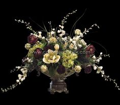 "Artificial Flower Arrangement w/ Delphinium, Peony, Rose Silk Flowers – 31"" - Commercial Silk Int'l"