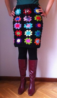 Crochet Multicolor Flower Granny Squares Skirt One by COSIMITAS, €139.00