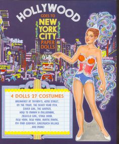 Front cover paper doll for 8 page book by David Wolfe.  8 pages of 27 costumes from vintage films that take place in New York City.  Available for purchase at paperdollreview.com.