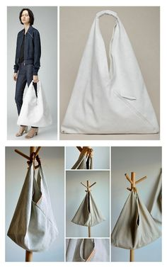 DIY Easy 5 Step Maison Martin Margiela Inspired Triangle Bag Tutorial from Between the Lines here. This is such a good tutorial because it is easy and quick in part due to the clever way of folding the fabric before sewing. Top Photo: $530 MM6 by Maison Martin Margiela Triangle Bag out of Crackled White Leather here, Bottom Collage: DIY by Between the Lines. For more DIY knockoffs go here: truebluemeandyou.tumblr.com/tagged/knockoff For more DIY bags go here…