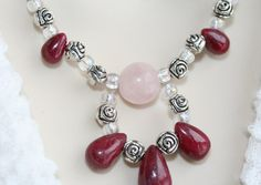 Ruby and Rose Quartz Necklace 377n: Handmade Jewelry Red