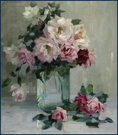 Okay, this is not a good example of Rococo style roses, but it is a great example of a more impressionistic style. I love this painting. Paintings I Love, Beautiful Paintings, Art Floral, Gravure Illustration, Colorful Roses, Still Life Art, Rose Art, Painting Inspiration, Painting & Drawing