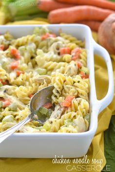 This Chicken Noodle Soup Casserole is the definition of comfort food! A perfect weeknight dinner! used rigatoni and several scoops of chicken broth-doubled Pasta Dishes, Food Dishes, Main Dishes, Casserole Dishes, Casserole Recipes, Cooking Recipes, Healthy Recipes, The Best, Noodle Soup