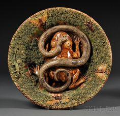 Two Portuguese Palissy ware plaques by Jose A. Cunha, late 19th c ...