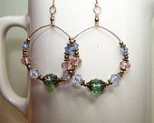 Crystal Hoop Earrings - Gold Wire Wrap Hoops - Swarovski Crystals - Handmade Jewelry