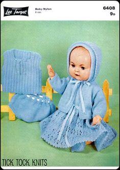 "Baby Doll Set Clothes Vintage Knitting PATTERN Dress Matinee Undies 11.5/""   76"