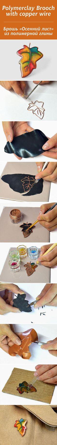 Polymer clay Brooch with copper wire   DIY & Crafts Tutorials