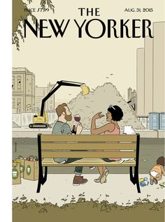 """""""I think it's kind of beautiful and hilarious to see people eating their organic kale and quinoa salads while gazing across the opaque, fetid water,"""" Adrian Tomine says of his cover for this week's issue, """"Gowanus Canal, Brooklyn."""" http://nyr.kr/1JP3T4D"""