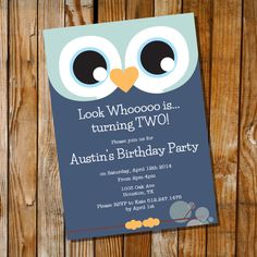 Owl Invitation for a Boy Birthday Party by SunshineParties