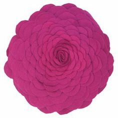 """Felt applique pillow with a floral silhouette.  Product: PillowConstruction Material: Felt coverColor: MagentaFeatures:  Insert includedApplique, piecing and cut-out details Dimensions: 14"""" DiameterCleaning and Care: Spot clean or dry clean"""