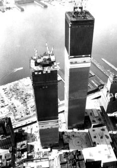 Innovative in both design and construction, the towers of the World Trade Center are built in huge pre-assembled pieces, each three stories tall.  This photo is from April 6, 1971, two years before the buildings are opened to the public.