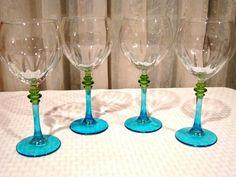 Elegant Green Blue Stem Glasses #Handmade Crystal Glassware, Wine Glass, Blue Green, Crystals, Glasses, Elegant, Tableware, Handmade, Eyewear