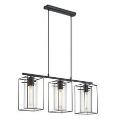 Suspension à 3 lumières en acier noir H110cm